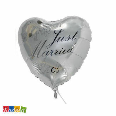 Palloncino CUORE Argento Just Married wedding palloncino party matrimonio 45 cm