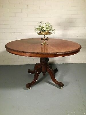 Antique Victorian Burr Walnut Loo Table Console Occasional Dining tilting Oval
