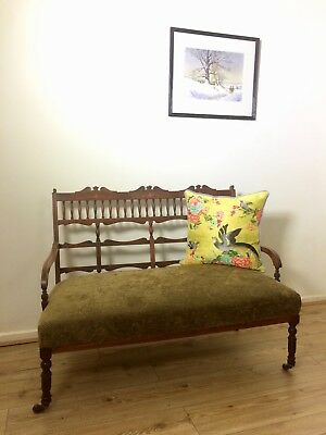 Antique victorian / Edwardian 1900's inlaid seat sofa rosewood wooden hall salon
