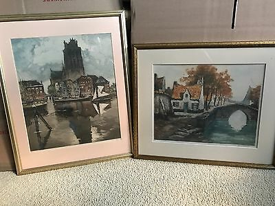 Pair Of Etching Prints, Late 19Th To Early 20Th Century