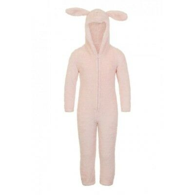 Girls Official Loungewear Sparkle Pink Fleece Rabbit hooded all in one 4-10 year