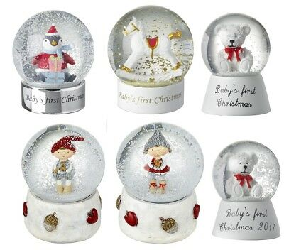 Babys First Christmas Snow Globe  With Penguin Rocking Horse Musical Girl Boy