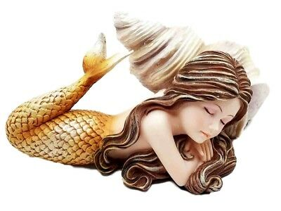 "5"" Long Mermaid Resting by Shell Small Figurine Resin Fantasy Statue"