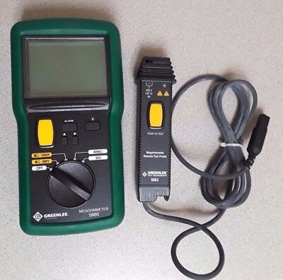 Greenlee Megohmmeter, 500V Dig/Ana Backlite (5880) And Probe Remote(5883)