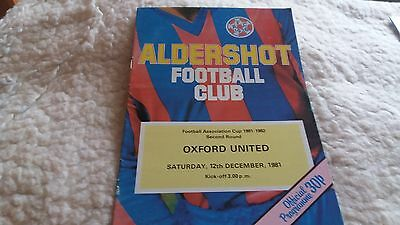 Aldershot v Oxford United 1981/82 FA Cup