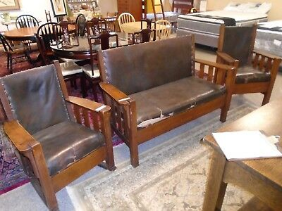 Antique Craftsman Mission Style Furniture SETTEE CHAIR & ROCKER Wood & Leather