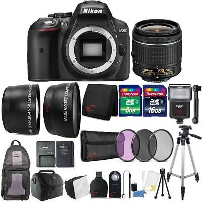 Nikon D5300 24.2MP DSLR Camera 18-55mm Lens + Zoom Flash with Backpack and More