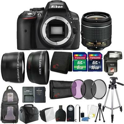 Nikon D5300 24.2MP DSLR Camera 18-55mm Lens + TTL Flash with Backpack and More