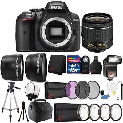 Nikon D5300 24.2MP DSLR Camera 18-55mm Lens + TTL Flash and Accessory Bundle