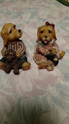 PAIR OF HAPPY DOGS FIGURINES male female with small dog sitting rare collectable