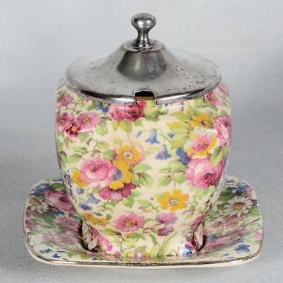 Royal Winton Summertime Chintz Jam/Jelly With Underplate & Metal Lid
