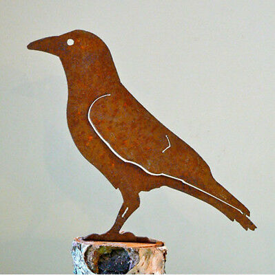 American Crow Cut Steel Yard or Garden Ornament Standing Crow Made in USA  Raven