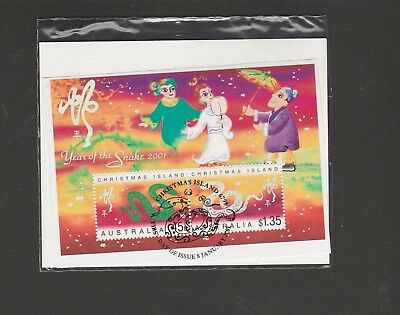 Christmas Island. 2001 Lunar New Year of the Snake.Mini Sheet 45c & $1.35 Stamps