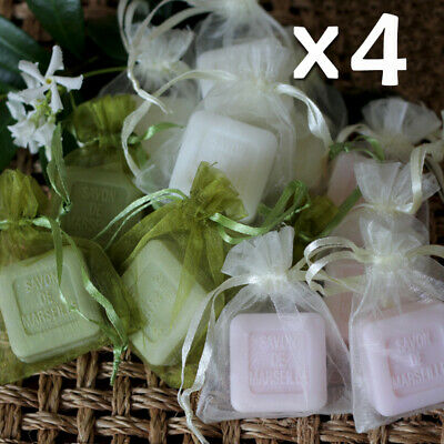 Savon de Marseille 25g Guest Soaps in Organza Bags - Mix of Four French Soap
