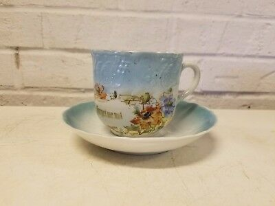"Ant German Porcelain ""Forget Me Not"" Mustache Mug w/ Saucer & Blue Floral Dec."