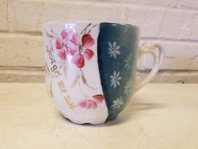 "Antique German Porcelain ""Forget Me Not"" Mustache Mug with Pink Floral Dec."