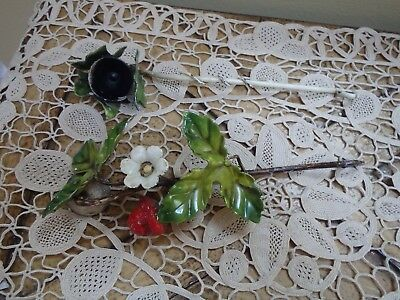 Vintage Pair Of Italian Tole Strawberry Candle Snuffers