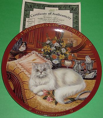 A Mysterious Case Of Fowl Play GLAMOURPUSS Bradford Cat Kitten Plate Boxed w/COA