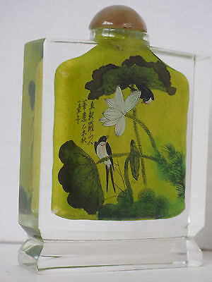 """4"""" Lrg Chinese~Rock~Crystal~lnside Hand Painting Calligraphy Signed Snuff Bottle"""