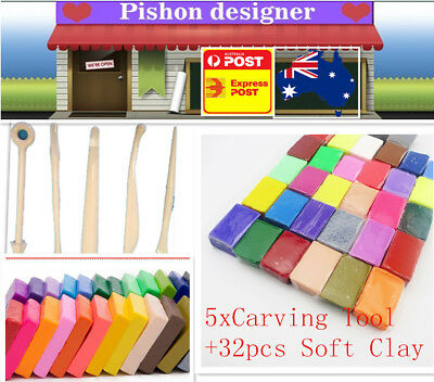 5xCarving Tool+32pcs DIY Craft Malleable Fimo Polymer Modelling Soft Clay Block