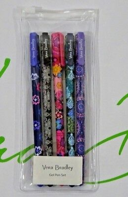 NEW Vera Bradley Set of 5 Colored Gel Pens Fall 2017 Factory Store Exclusive