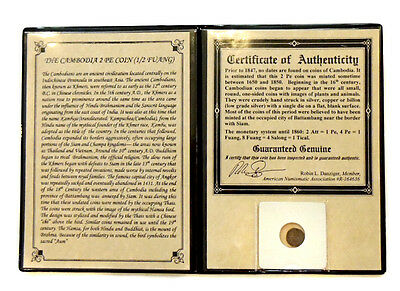 CAMBODIA 2 PE COIN (1/2 FUANG) in Album with COA minted btw 1650 - 1850 A.D.
