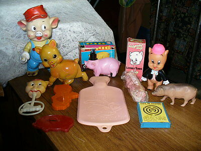 Lot of 11 vintage pig items: Looney Tunes, Walt Disney, Rempel, friction toy etc
