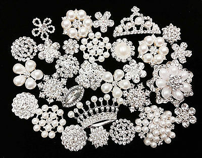 20 Mixed Silver Flat Back Button Crystal Pearl Rhinestone Embellishment Button