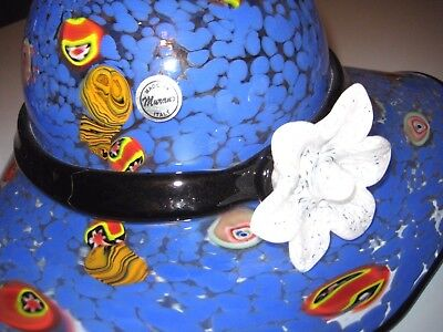 Murano Italy  Hand Blown Glass Large Blue Bowl Bow Hat Vase Vintage with Tag