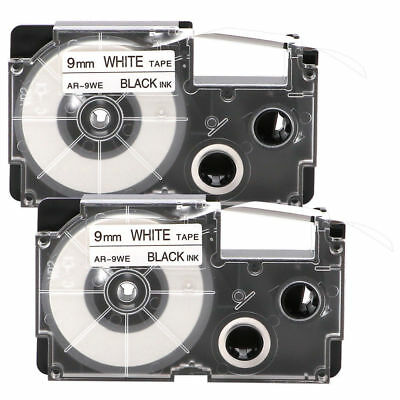 2Pcs Black on White 9mm 8m Label Tape XR-9WE XR-9WE1 For Casio EZ-Serial Sale