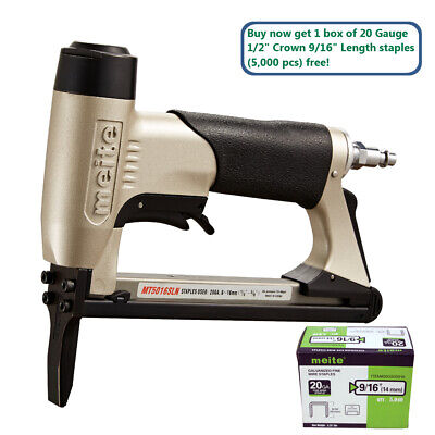 "meite MT5016SLN 20GA 1/2"" Crown Long Nose Stapler Upholstery Stapler with Safety"