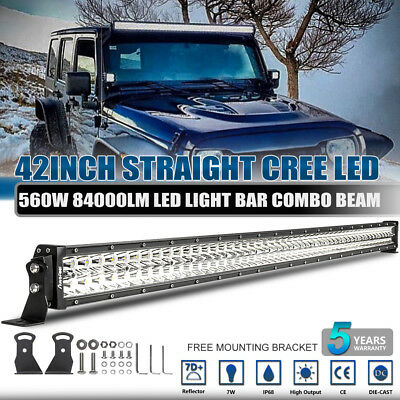 """Cree 42""""inch 560W Led Light Bar Spot Flood Offroad Lamp 4Wd 40""""/44''/45' Driving"""