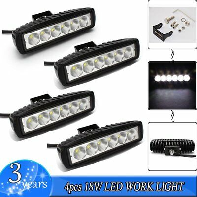 "4X 6"" 18W LED Work Light Bar Driving Light Spot Truck Offroad Fog Lamp ATV SUV"