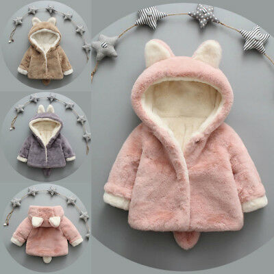 Toddler Baby Kids Girls Fleece Coat Winter Warm Hooded Jacket Outwear Overcoat