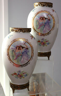 "pair of  Antique Mounted Footed Vases 9.75"" tall Germany"