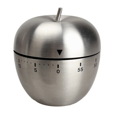 Mechanical Timer Kitchen Cooking 60 Minutes Alarm Stainless Steel Apple Shaped