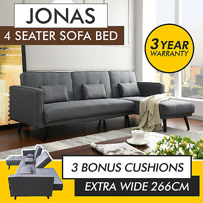 4 Seater Sofa Bed with Chaise Linen Fabric Couch Modern Lounge Furniture Pillows