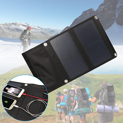 15W Outdoor Solar Power Charger Foldable Dual USB Max 9V 2.3A for Camping