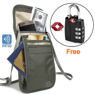 Multi-Pocket Waterproof RFID Blocking Travel Pouch Wallet+1 of TSA Luggage Lock
