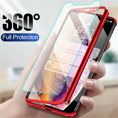 360° Full Protect Hybrid Case + Tempered Glass Cover For iPhone X SE 6 7 8 Plus