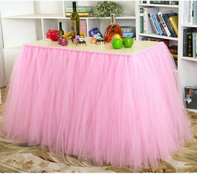 Tutu Tulle Table Skirt Cover For Girl Princess Birthday Party Baby Shower Pink