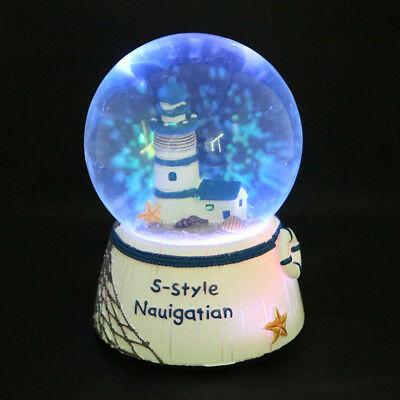 Lighthouse Tower House Musical Water Snow Globe Music Box Xmas Crafts Gift