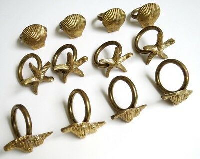 Set of 12 Brass Napkin Rings - Marine Theme - Shells - Made in India