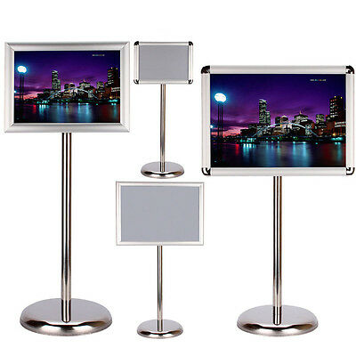 US A3/A4 Display Pedestal Sign Board Floor Holder Stand Poster Silver Metal Tool
