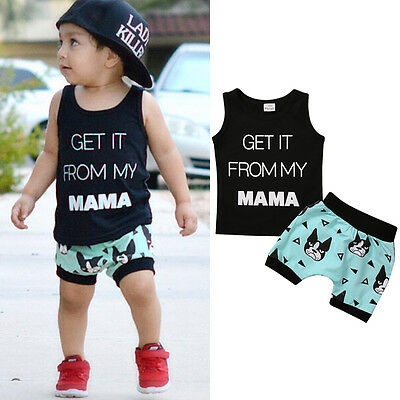 2pcs Toddler Kids Baby Boys Vest T-shirt Tops+Shorts Summer Outfits Clothes Set