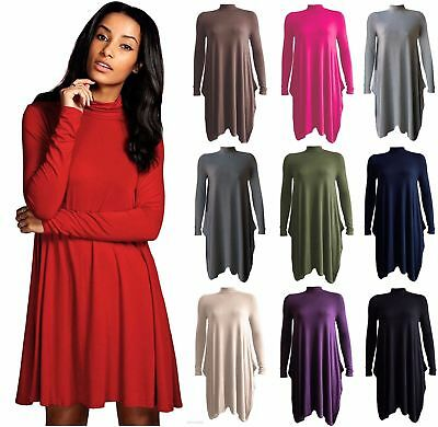 New Ladies Long Sleeve Polo Neck Turtleneck Swing Dress Uk 8