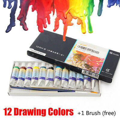 12 Colors 5ml Paint Tube Gouache Drawing Artist Draw Watercolor Set w/ Brush