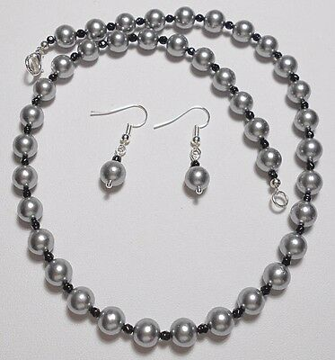 """Necklace + earrings, silver/grey Shell Pearls, Black Agate 18"""""""