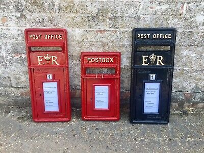 British ER II Royal Mail Cast Iron Post Box Front Post Office Box Fascia