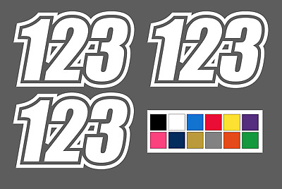 3 x Custom Race Numbers - Bike Car Motocross Trials Supermoto - Choose Colour